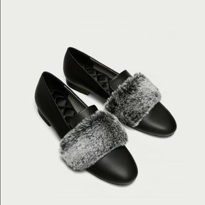 NWT Zara Black Faux Leather Slippers with Faux Fur